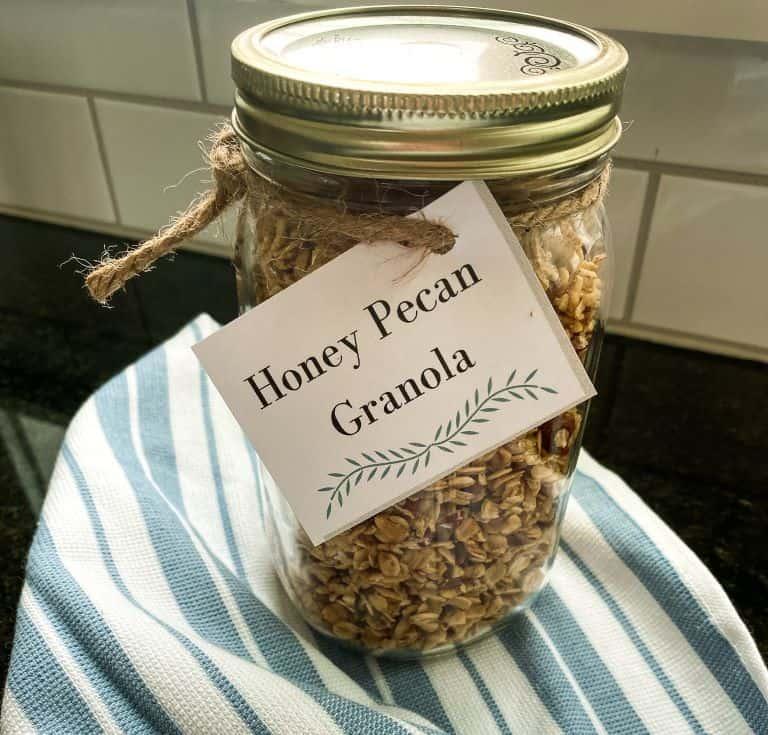 mason jar filled with honey pecan granola