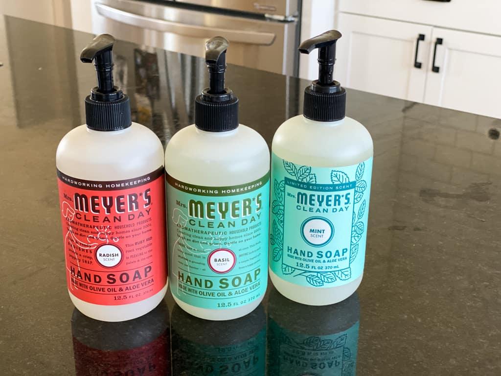 liquid hand soap mrs meyer's mint basil radish