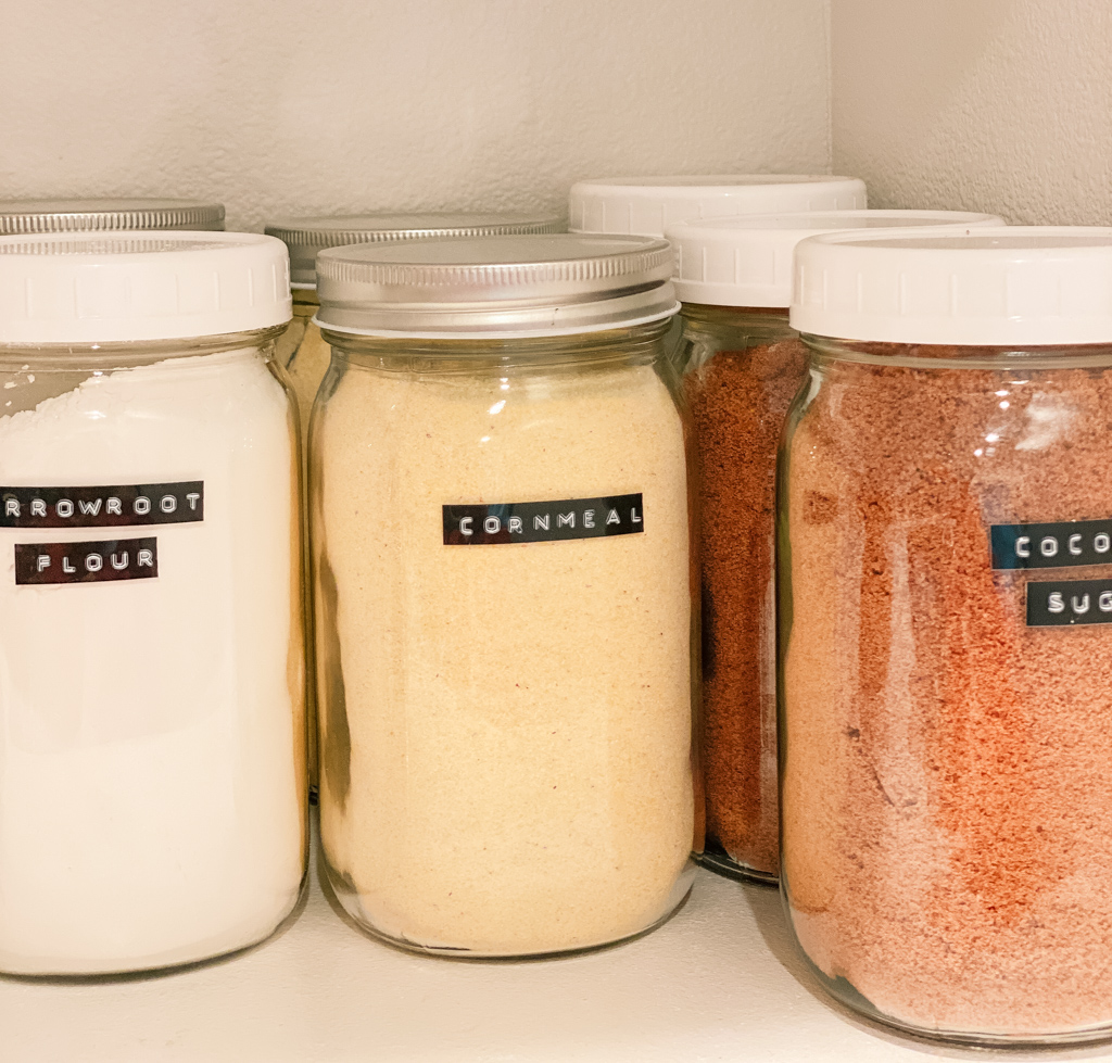 organized food on shelf cornmeal coconut sugar mason jar ball jar stay stocked up on essentials