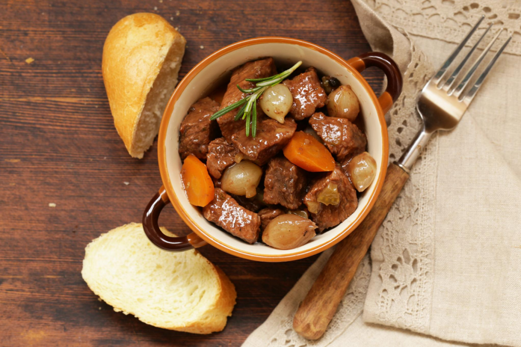 beef stew homemade bread farm table old fashioned