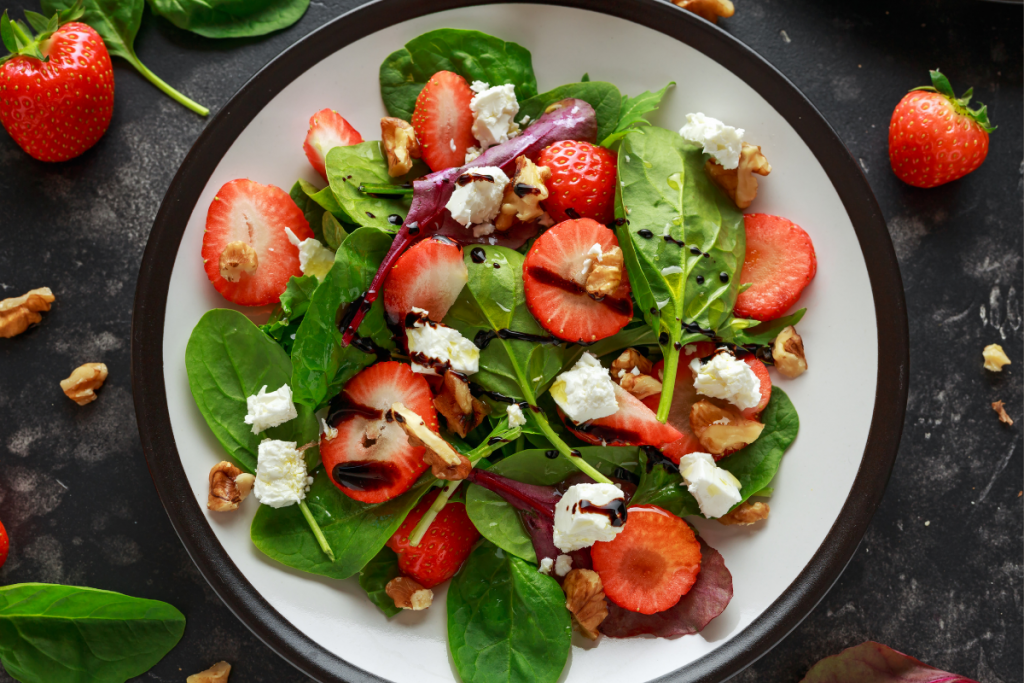 salad greens fresh spinach strawberries dinner salad plate