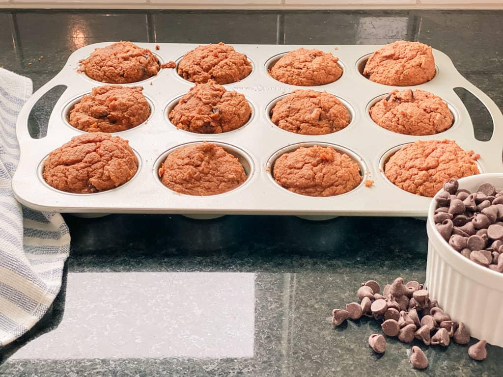 pumpkin sourdough muffins chocolate chips carob chips grass fed butter free range eggs honey