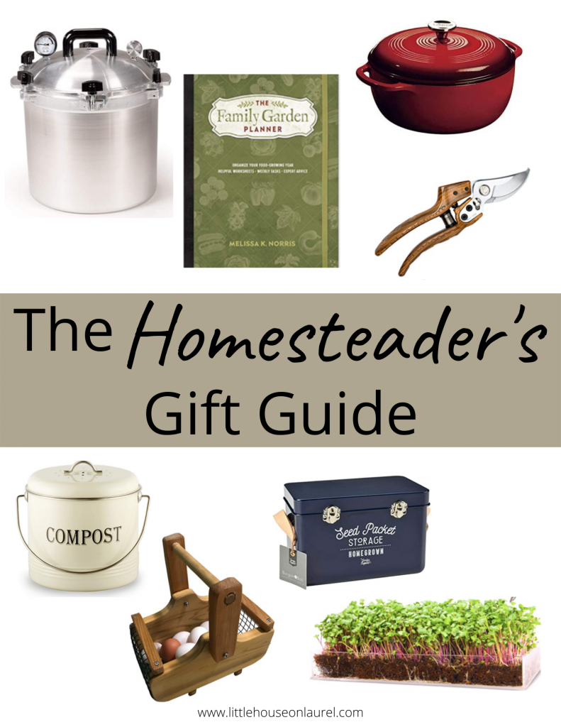 homesteader gift ideas pressure canner garden planner dutch oven compost bucket tin egg basket seed storage microgreens