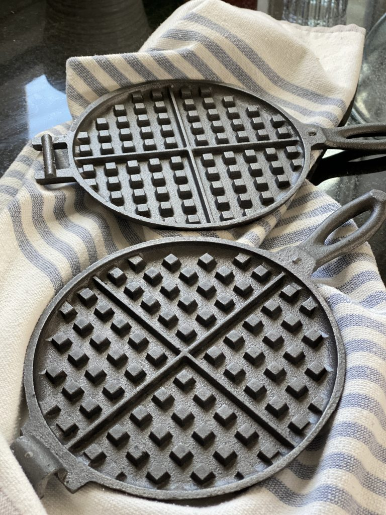 waffle iron cast iron season wax